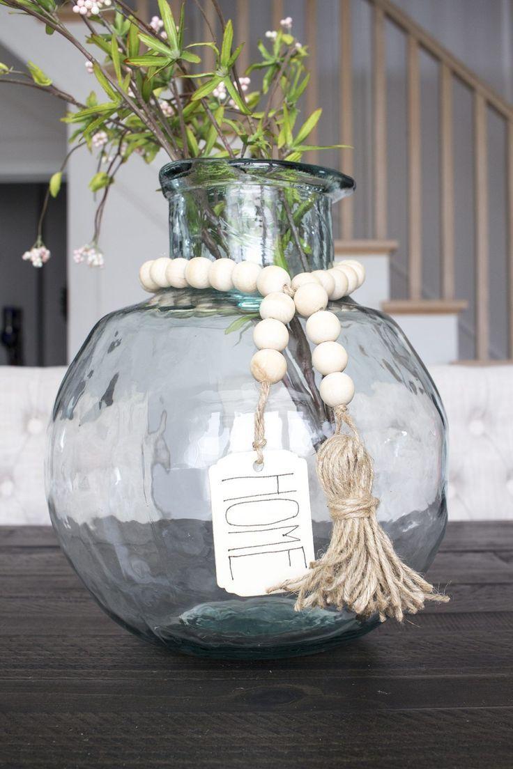 DIY Wood Bead Garland with Tassels & Tag – Perfect…