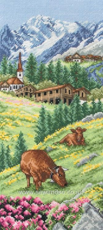 """Swiss Alpine Landscape - Anchor >GEIGER's Design Inspiration: Previous Pinner ; """"A scene - so common for our Alpine Homeland - with grazing cows on mountain meadows, just outside an Alpine Village... all captured in traditional cross-stitch handwork technique. The Art of Tradition!""""....   I ℒℴѵℯ Switzerland & Swiss Cows :))) ~ Celeste Alayne ☜♥☞"""