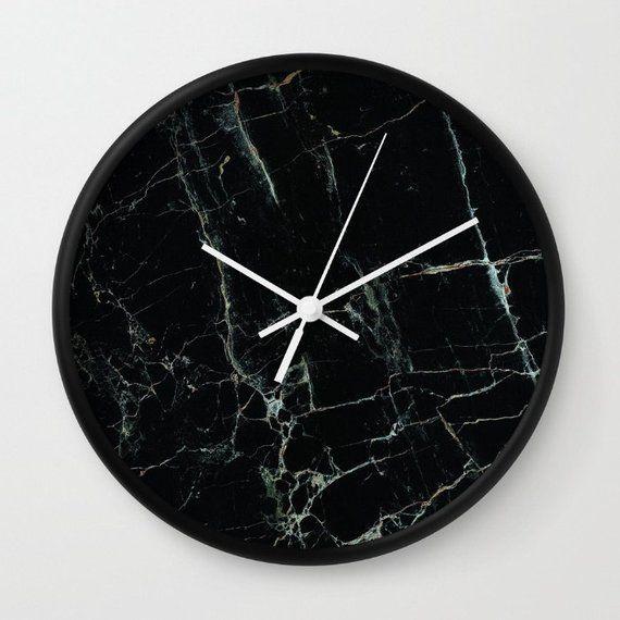 Marble Wall Clock Black Marble Clock Marble Office Decor Clock Modern Office Wall Clock Mens Office Marble Clock Office Wall Clock Wall Clock