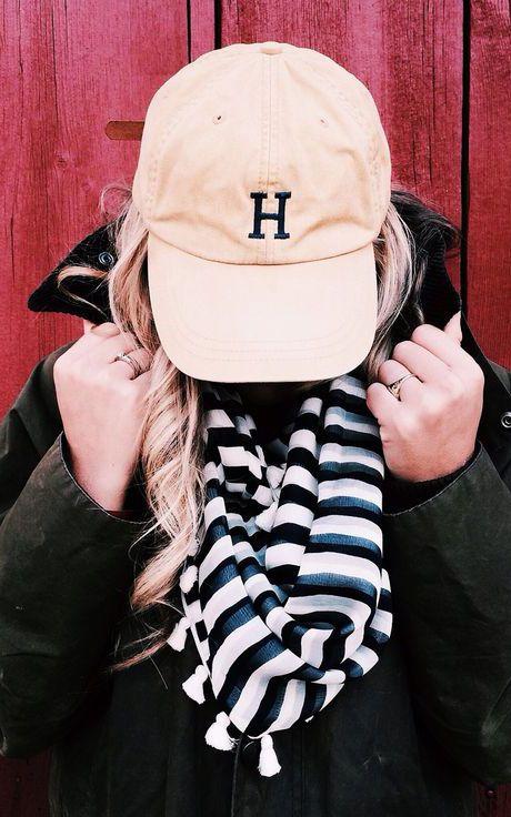 monogrammed baseball cap.