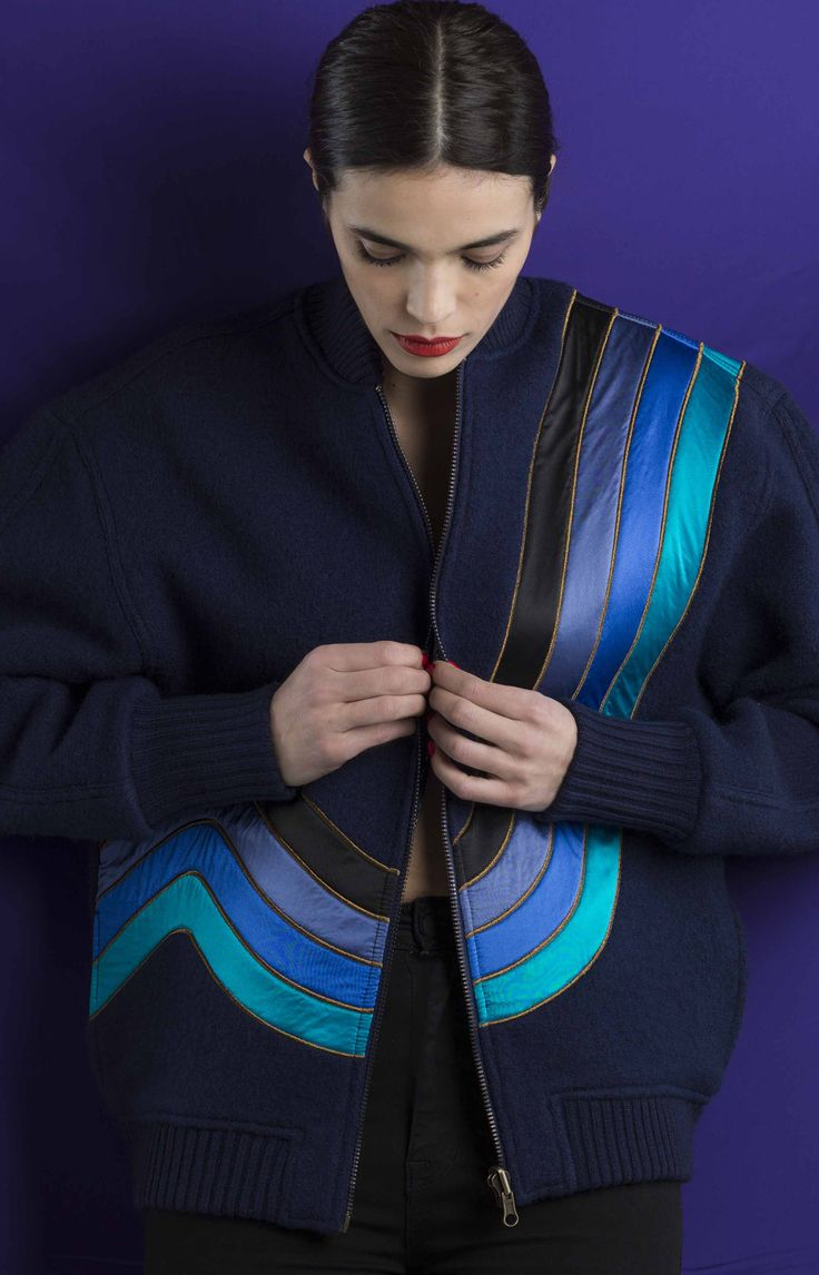 WAVE Bomber Jacket (front side) #amishboyish #bomber #jacket #reversible #couture #fashion #paris #france
