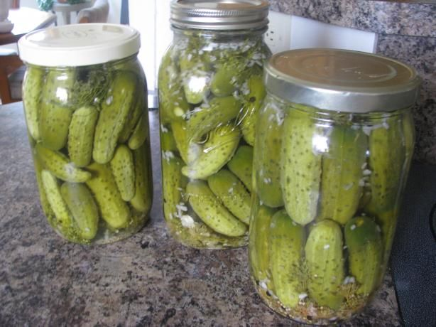 Claussen Kosher Pickle Copycat from Food.com:   								Two weeks ago I was in the grocery store and a man was buying fresh dill.  We started talking and he said he was making Claussen Clone Pickles (my favorite) I asked him to call me with the recipe and he did and this is it.  His name is Joe Knutowski.  I did make the pickles and they are really a close copycat.