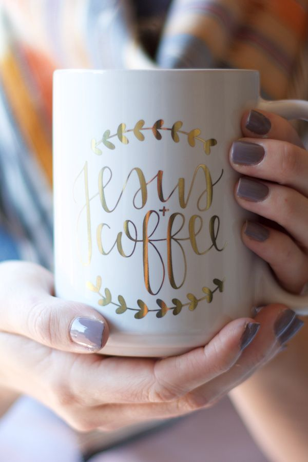 Gold Foil Jesus and Coffee mug from Chalkfulloflove