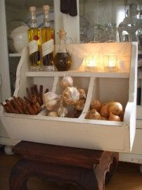 Brocante wit houten gruttersbak
