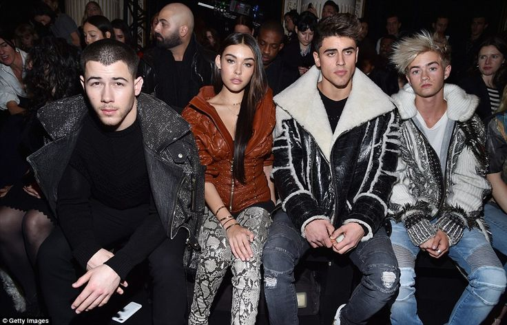 The FROW: (L-R) Nick, Madison Beer, Jack Gilinsky and Jack Johnson all sat in the crowd