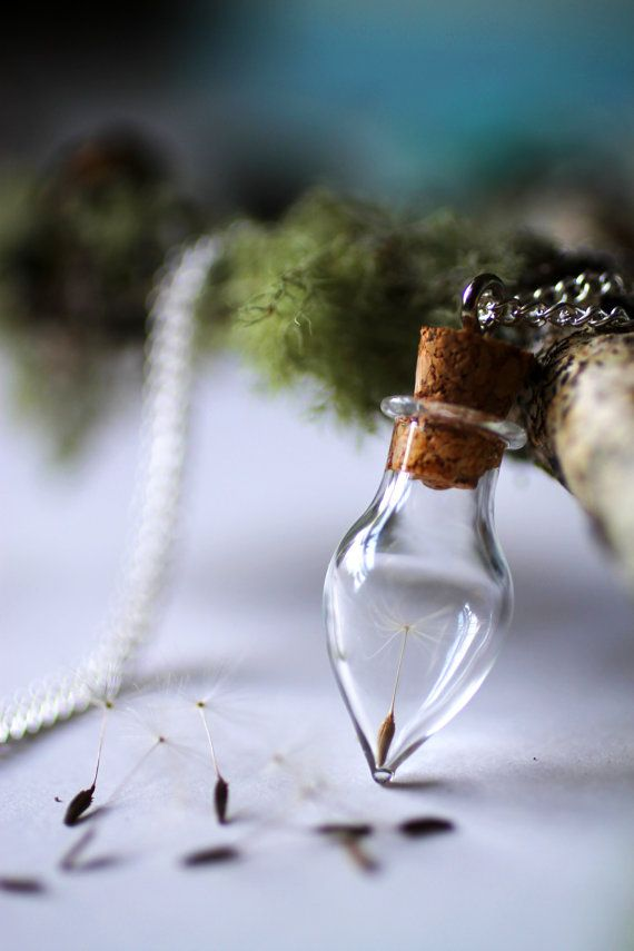 Dandelion wish necklace, Wish bottle necklace, botanical specimen, glass vial pendant, good luck charm necklace, gift for bride, make a wish