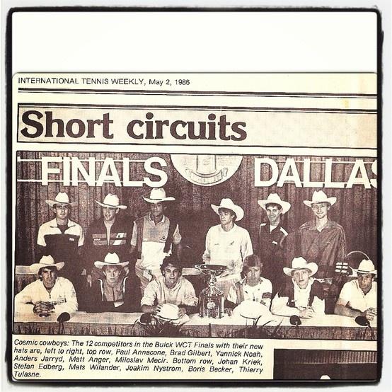 #throwbackthursday: May 2, 1986- International Tennis Weekly posts a group picture of 12 competitors in the Buick WCT Finals in Dallas, TX. Top row from left: Paul #Annacone, Brad #Gilbert, Yannick #Noah, Anders #Jarryd, Matt #Anger, Miroslav #Mecir. Bottom row from left: Johan #Kriek (@Johan Kriek), Stefan #Edberg, Mats #Wilander, Joakim #Nystrom, Boris #Becker (@borisbeckerofficial) and Thierry #Tulasne #johankriek #borisbecker #matswilander #stefanedberg #bradgilbert #tennis #ATP #ATPTour…