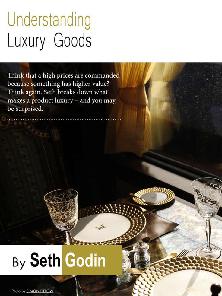 Understanding Luxury Goods by Seth Godin  Think That a high prices are commanded because something has higher value? Think again. Seth Godin, author of 17 books that have been bestsellers around the world, breaks down what makes a product luxury - and you may be surprised.  More info: http://magazine.valuedmarketer.com/  iTunes: https://itunes.apple.com/us/app/valuedmarketer-magazine-become/id709724297?l=pl&ls=1&mt=8