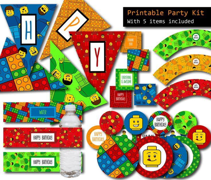 LEGO fête, Lego anniversaire cotillons décorations de fête - imprimable paquet Party 5 Articles, Lego, Lego bannière, gâteau, cartes de remerciement par PrtSkinDigital sur Etsy https://www.etsy.com/be-fr/listing/235760067/lego-fete-lego-anniversaire-cotillons