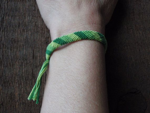 Three Shades of Green Candy Stripe Bracelet by SaxophoneChick, $5.00