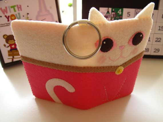 kitty card case by FeltLang on etsy