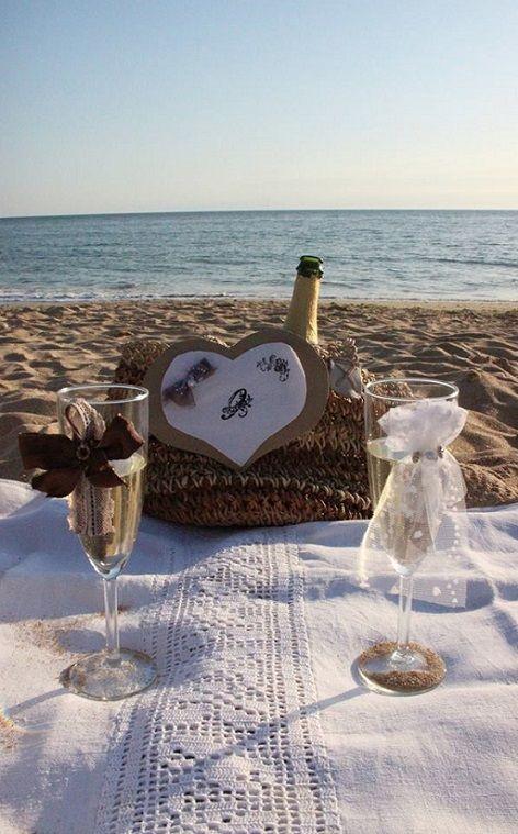 Champagne sur la plage (anniversaire de mariage)