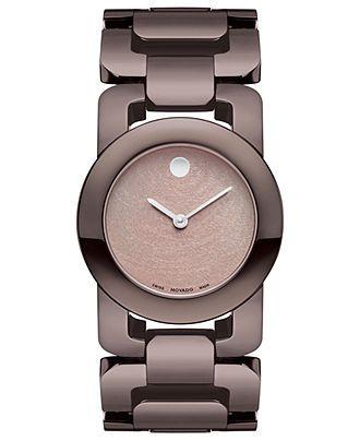 Movado Watch, Women's Swiss Luma Chocolate Brown PVD Stainless Steel Link Bracelet 32mm 0606573 - Movado - Jewelry & Watches - Macy's