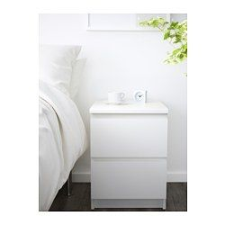 "IKEA - MALM, 2-drawer chest, white, 15 7/8x21 5/8 "", , Can also be used as a nightstand.Smooth running drawers with pull-out stop."