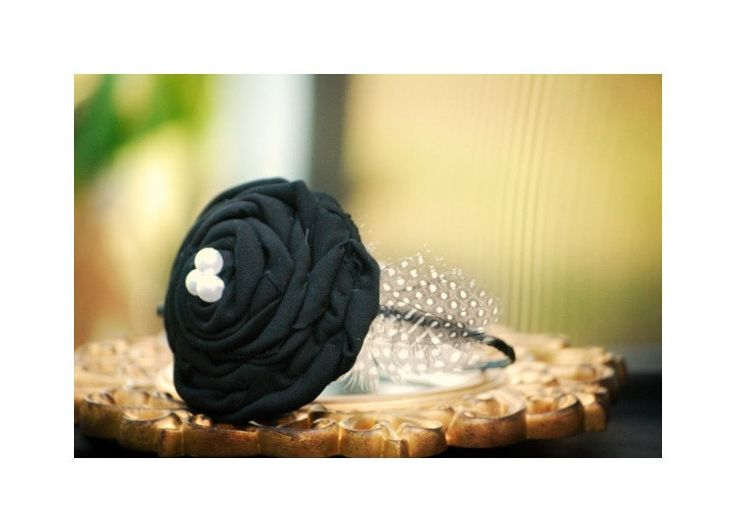 Classy Headband Ebony Black Rosette & Ivory White Pearl. Winter Bride Bridesmaid Bridal, Kid Teen Preteen Birthday, Large Couture Statement - pinned by pin4etsy.com