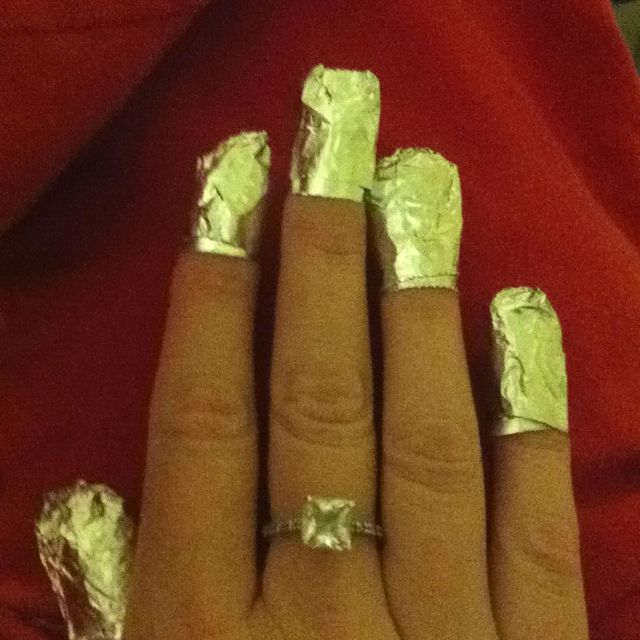 Removing acrylic nails made easy! So I hate soaking and being stuck at a bowl so I used pieces of cotton soaked in nail polish remover & wrapped foil around to secure it did chores for 5 min and EASY peal off no pain!!