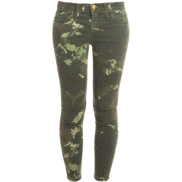 CURRENT/ELLIOTT Army Stiletto Jeans found on Polyvore featuring jeans, pants, bottoms, pantalones, camo jeans, zipper jeans, skinny jeans, super skinny jeans and current/elliott