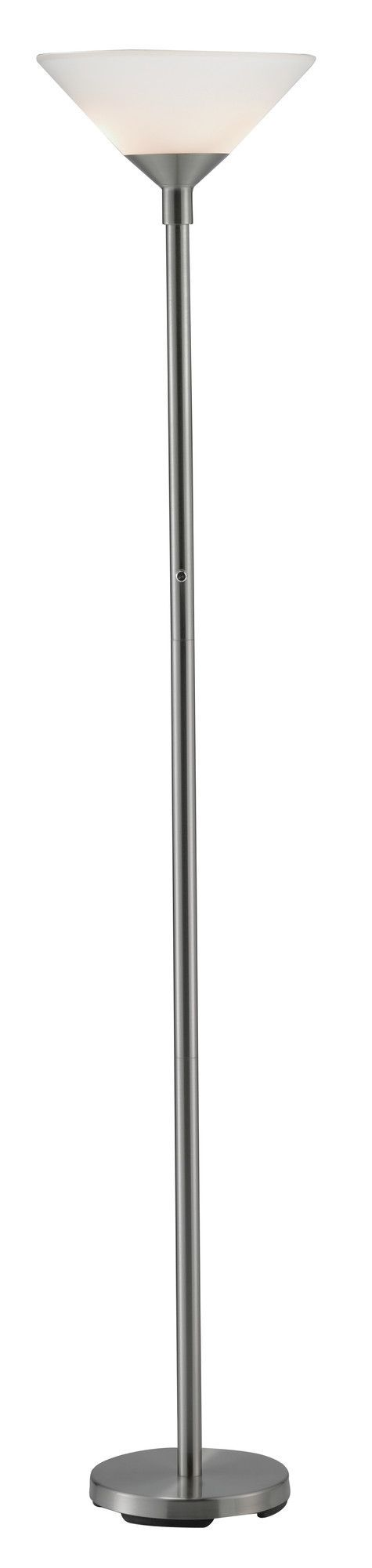 Features:  -Floor lamp.  -High / low switch.  Material: -Metal.  Hardware Material: -Stainless steel.  Shade Material: -Plastic. Finish Black -  Base Finish: -Black. Finish Black -  Hardware Finish: -