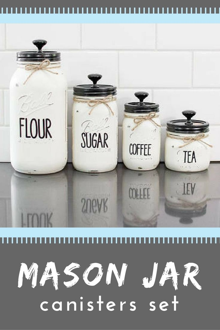 I love the block lettering on these mason jar kitchen canisters! Each set is hand-painted and includes one 64oz, one, 32oz & two 16oz canisters. Multiple customization options are available #ad #etsyfinds #masonjars