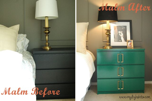 Ikea MALM dresser Art Deco makeover, WOW! I am impressed!  Benjamin Moore Advance in High Gloss - Color matched to BEHR's Precious Emerald - $24.00