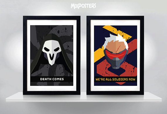 REAPER & SOLDIER 76 OVERWATCH Wall Art Print Game by MixPosters