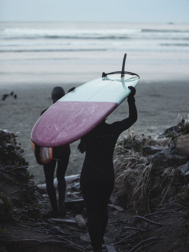 Surfer, Lydia Ricard about to head out for a sunrise session in Tofino.