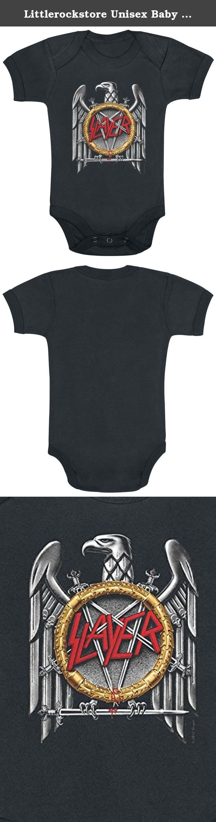 Littlerockstore Unisex Baby Slayer Onesie Metal Silver Eagle 12 - 18 Months Black. Slayer bodysuit infant metal Silver Eagle. Officially licensed merchandise, great quality, brand new and usually ships within 24 hours!.