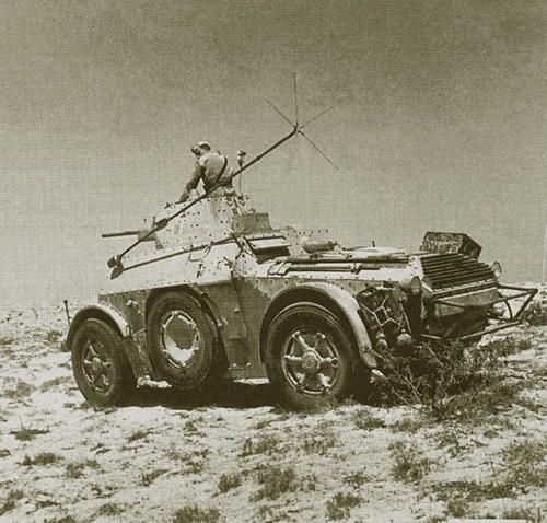 Fascist Italian Fiat-Ansaldo Autoblinda 40, (AB/40) were Italian advanced design armored cars which saw service during WWII. Most Autoblinda were armed with a 20mm Breda 35 rapidfire autocannon or a 47/32mm main gun with coaxial 8mm machine gun in a turret mount, with an additional hull mounted rear-facing 8mm machine gun.