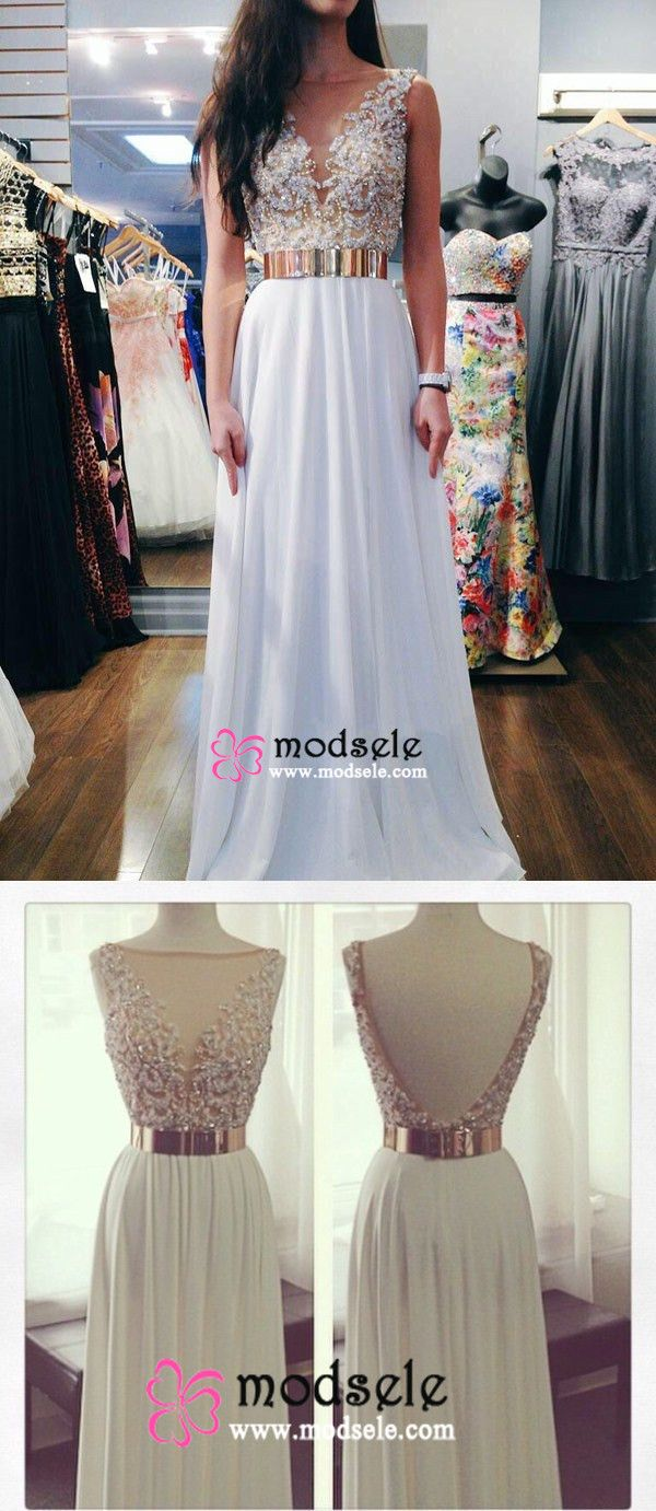 2016 prom dresses,long prom dresses, white chiffon prom dresses with gold belt