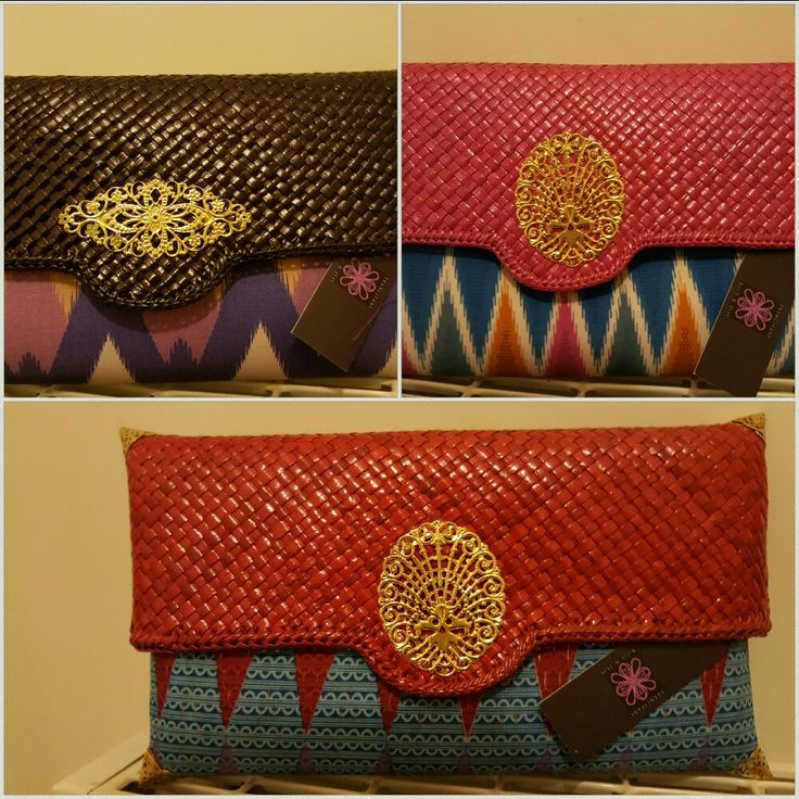Clutch purses with a pandan  weave lid and a matching ikat from www.frangibatik.com  Dublin Ireland