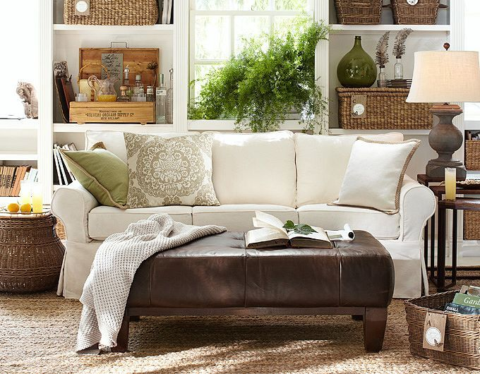 Vintage French Soul   Like this neutral living room and green pillow from  Pottery Barn. 4484 best images about    Cozy Cottage Living Rooms    on