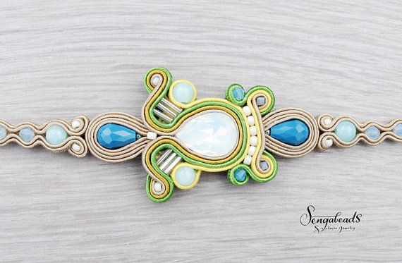 Spring new soutache bracelet in ivy green blue and by Sengabeads