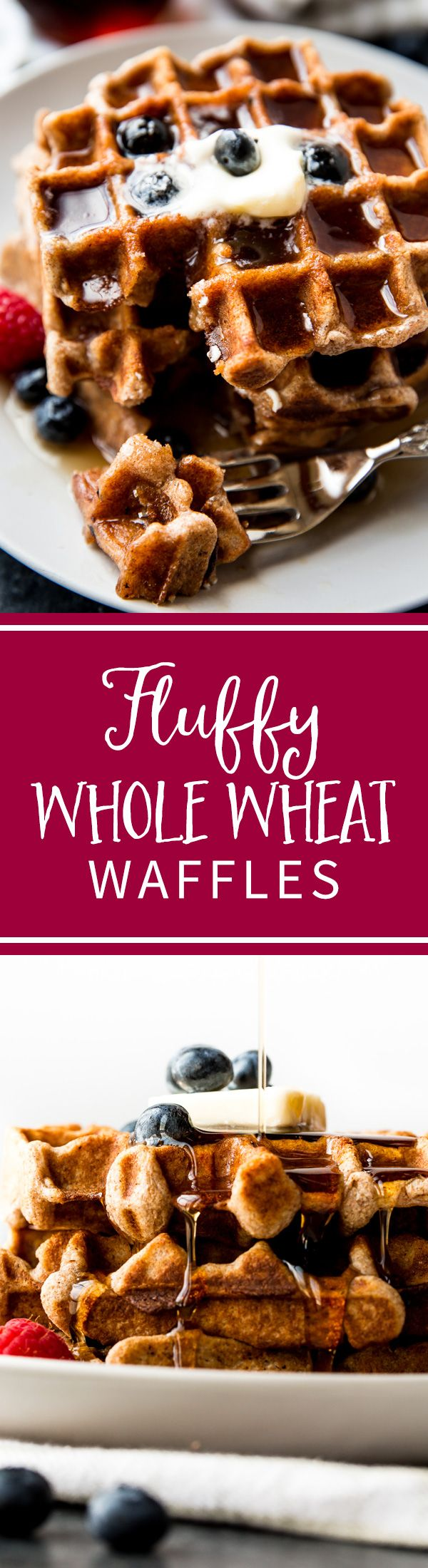 How to make delicious, buttery, fluffy, and healthy whole wheat waffles! Easy recipe on sallysbakingaddiction.com
