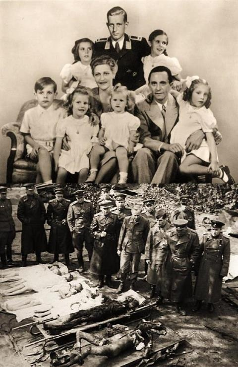 Joseph and Magda Goebbels. Magda was a fanatical Nazi, and in the Berlin bunker she murdered six of her children. Then she and Joseph died, too. The only survivor was Harold Quandt,  Magda's eldest son, by her first husband.