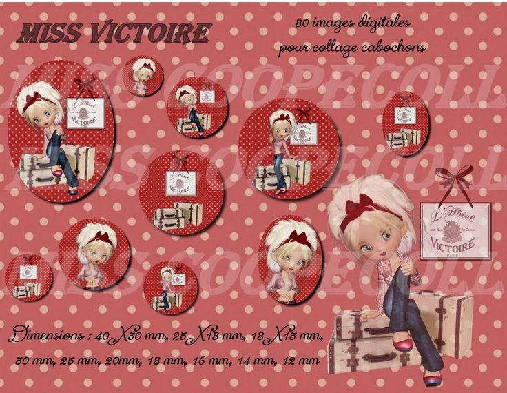 """80 images pour collage digital cabochons bijoux """"Miss VICTOIRE : Loisirs créatifs, scrapbooking par miss-coopecoll"""