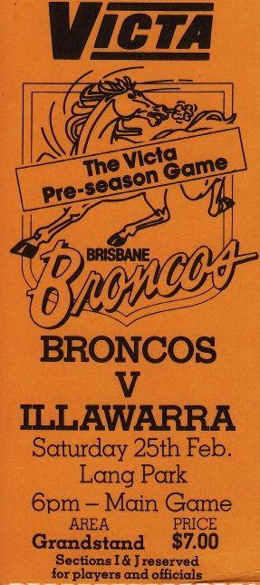 Broncos vs Illawarra, Lang Park, Brisbane 1989.