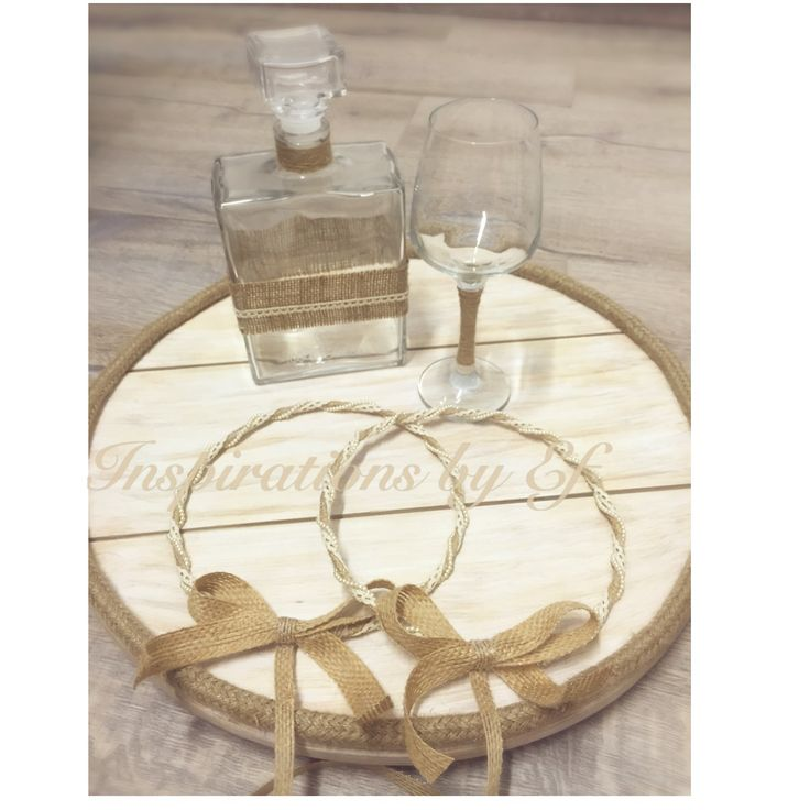 Ξύλινος δίσκος χειροποίητος στρογγυλός με λινάτσα..vintage wedding... στέφανα γάμου vintage...