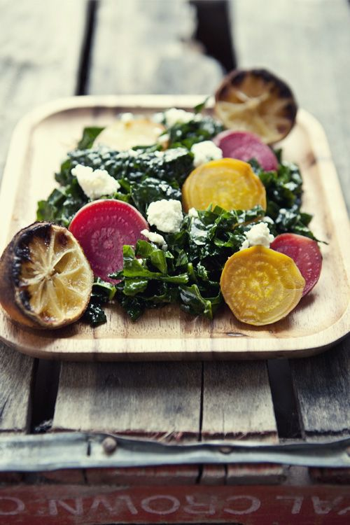 Roasted Beets and Lacinato Kale Salad with Lemon Vinaigrette #recipe via FoodforMyFamily.com your Source of Iron: Beets!