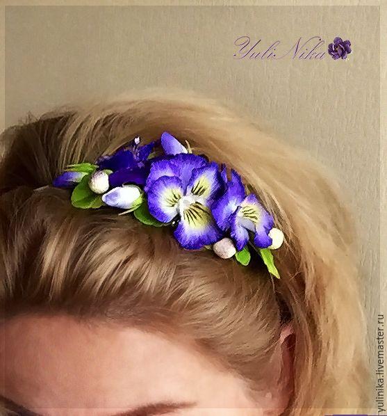 Купить Обруч с анютками. - фиолетовый, сиреневый, анютины глазки, Виола, обруч с цветами, полимерная глина