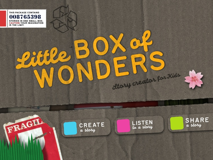 Little Box of Wonders Story Creator app concept, starting view