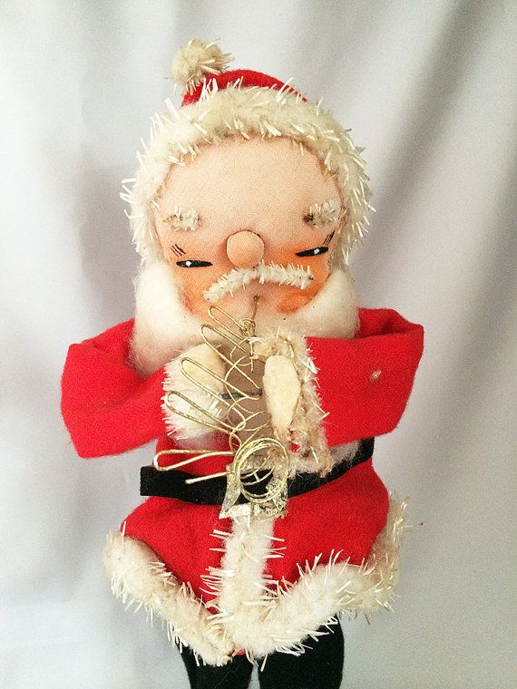 $58 - Vintage 1950s Japan SANTA FIGURINE, Standing Musician Santa Playing Gold Horn, Mid Century Christmas Decorations . . . By CoolOldStuffForSale . . . This is a unique vintage standing cloth and wire Santa Claus figurine, all decked out in his felt Santa suit with a fluffy cotton beard!