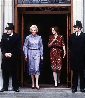 Diana's mother, Frances Shand Kydd, leaves St Mary's hospital with Diana's sister Lady Sarah McCorquodale following the birth of Prince William on June 21, 1982 in London. Kydd died June 3, 2004 aged 68 in hospital after a long illness.