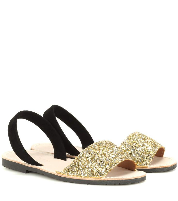Gold and black glitter and suede sandals