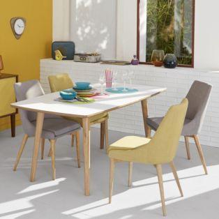 Chaise en hévéa et frêne gris foncé esprit scandinave - Abby - Chaises-Tables et chaises-Salon et salle à manger-Par pièce - Décoration intérieur - Alinea