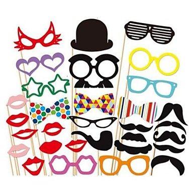 31 pcs papel cartão foto cabine adereços divertido favor de partido (óculos&chapéu&bigode&chapéu) – BRL R$ 27,77
