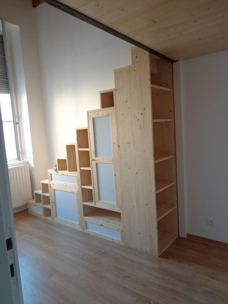 Agencement chambre parquet placard mural mezannine escalier biblioth que mezzanine - Agencement chambre ...
