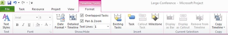The Timeline Tools Menu in Microsoft Project