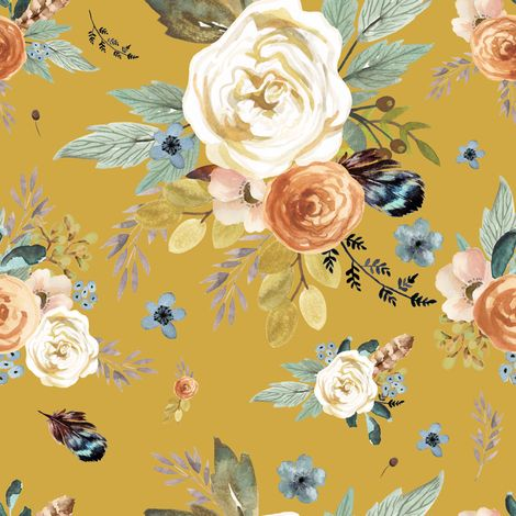 Colorful Fabrics Digitally Printed Spoonflower Western Autumn Mustard Color