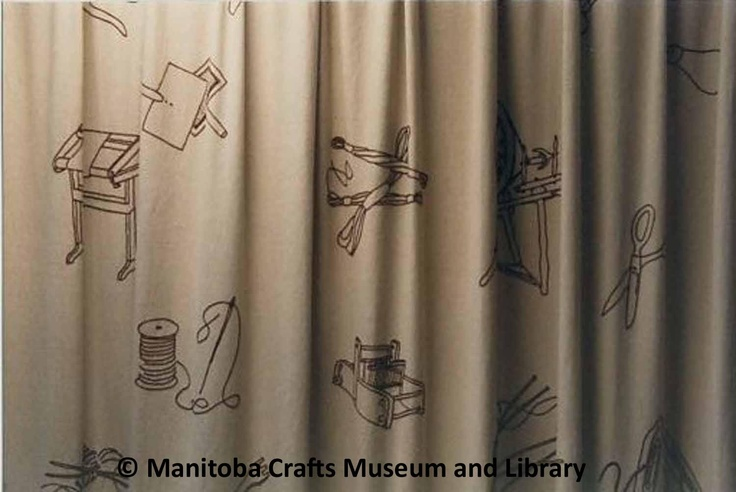 Crafts Guild of Manitoba  Approx 2 2/3x5 1/3 yds each drape. Hand embroidered in brown embroidered thread with spinning wheels, shuttles, embroidered frames, ball wool with knitting needles, reel thread with needle, scissors, small loom.  (Used as kitchen divider in Guild Hall from 1970-1985.  Also used in lounge. In new building hung as divider in basement staff room, 1986.)