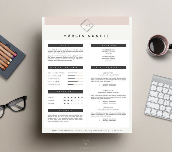 professional resume template and cover letter template for ms word iwork pages instant digital